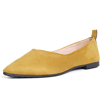cheap Flats-Women's Flats Low Heel Pointed Toe Outdoor Cowhide PU Almond / Black / Yellow