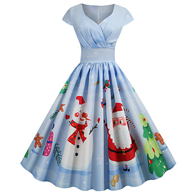cheap CHRISTMAS GIFTS-Women's Christmas Party Festival Basic Sheath Dress - Snowflake Snowman, Print Sweetheart Neckline Light Blue Blue Light Green S M L XL Belt Not Included
