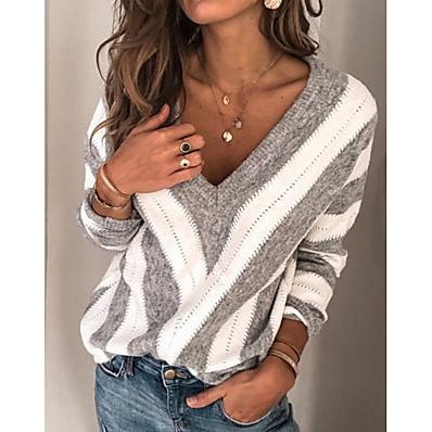 cheap Knit Tops-Women's Striped Long Sleeve Plus Size Pullover Sweater Jumper, V Neck Winter Wine / Blue / Purple S / M / L