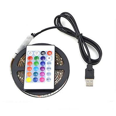 abordables Bandes Lumineuses LED-5m Barrette d'Eclairage Bande lumineuse LED Ruban LED RGB 150 LED 5050 SMD 8mm 1 24Keys Télécommande 1 set Plusieurs Couleurs Imperméable Découpable USB Alimenté par Port USB