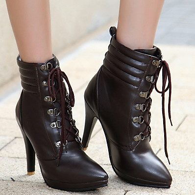 cheap SHOES-Women's Boots Stiletto Heel Round Toe PU Mid-Calf Boots Winter Black / Brown / White