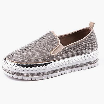 cheap Flats-Women's Flats Flat Heel Round Toe Canvas Spring & Summer Black / White