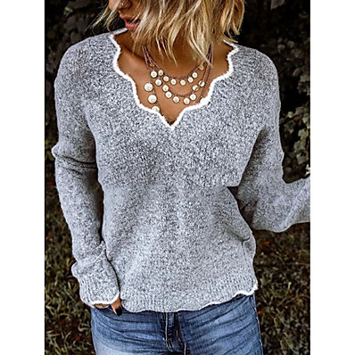 cheap Knit Tops-Women's Solid Colored Pullover Long Sleeve Sweater Cardigans V Neck Green Gray