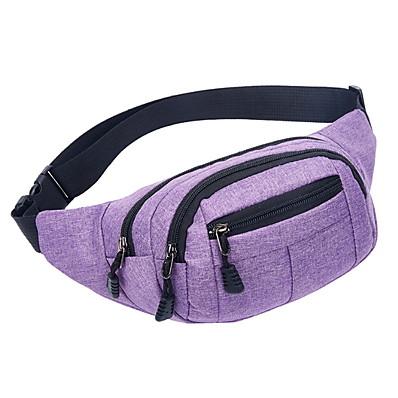 cheap Men's Bags-Men's Zipper Canvas Fanny Pack Solid Color Black / Purple / Blue