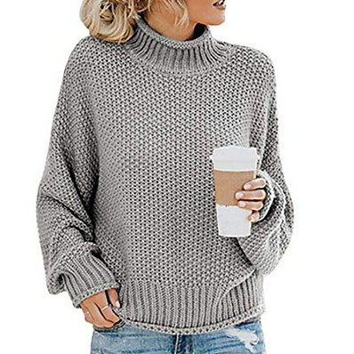 cheap New in-Women's Solid Colored Long Sleeve Pullover Sweater Jumper, Stand Orange / Light Green / Beige S / M / L