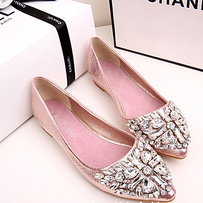 cheap Flats-Women's Flats Glitter Crystal Sequined Jeweled Flat Heel Pointed Toe Casual Vintage Daily Party & Evening Synthetics Crystal Sparkling Glitter Solid Colored Pink Gold Silver