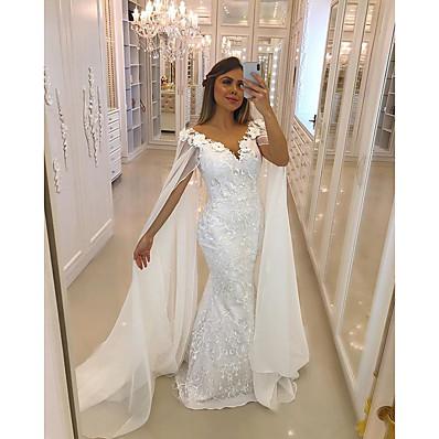 cheap Wedding Dresses-Women's Sheath Dress - Solid Colored White S M L XL