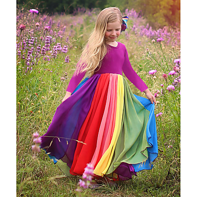 cheap Kids-Kids Toddler Little Dress Girls' Rainbow Color Block Colorful Outdoor Tulle Dress Patchwork Fuchsia Lavender Maxi Cotton Long Sleeve Active Boho Dresses Fall Winter Regular Fit