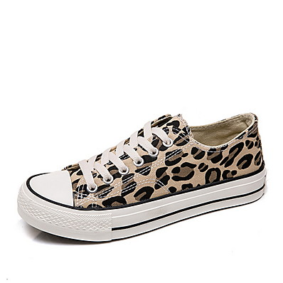 cheap Sneakers-Women's Sneakers Flat Heel Round Toe Canvas Spring & Summer Brown
