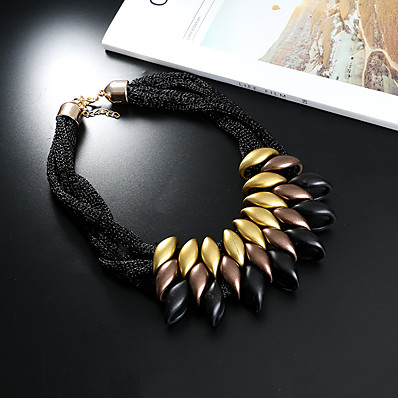 cheap Women's Jewelry-Women's Statement Necklace Statement Ladies Chunky Resin Chenille Black Gold Silver Rainbow Necklace Jewelry One-piece Suit For Casual Date