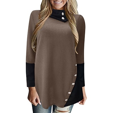 cheap Knit Tops-Women's Color Block Long Sleeve Pullover Sweater Jumper, Round Neck Wine / Purple / Yellow S / M / L
