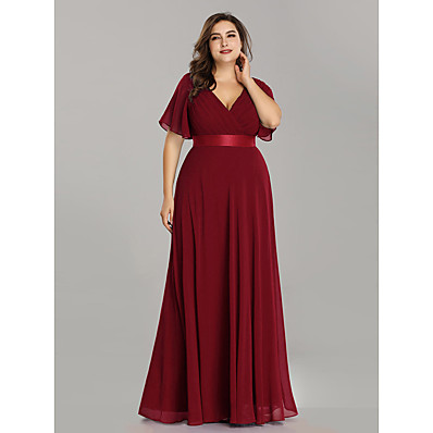 cheap Mother of the Bride Dresses-A-Line V Neck Floor Length Chiffon Short Sleeve Plus Size / Elegant Mother of the Bride Dress with Sash / Ribbon / Ruching 2020 / Petal Sleeve