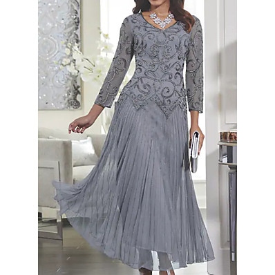 cheap Dresses-Women's Maxi Slim Swing Dress - Solid Colored Lace V Neck Spring Gray M L XL XXL