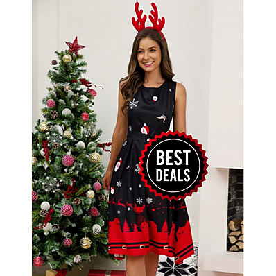 cheap CHRISTMAS GIFTS-Women's Christmas Party Elegant A Line Dress - Geometric Black White Red S M L XL