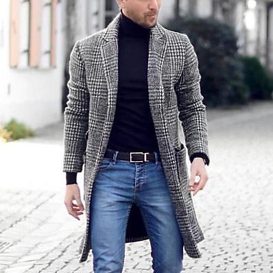 cheap Men's Outerwear-Men's Daily Basic Spring &  Fall EU / US Size Regular Overcoat, Houndstooth Black & Gray Straight Collar Long Sleeve Others Patchwork Gray