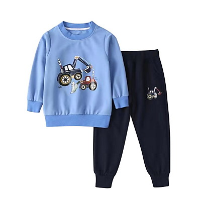 cheap Boys' Clothing-Kids Boys' Basic Cartoon Long Sleeve Clothing Set Blue