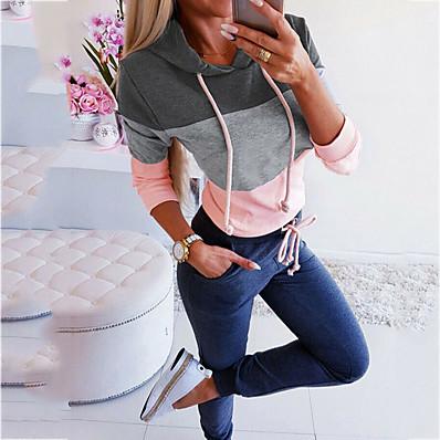 cheap Sweatshirt Hoodie-Women's Casual Hoodie - Color Block Black S