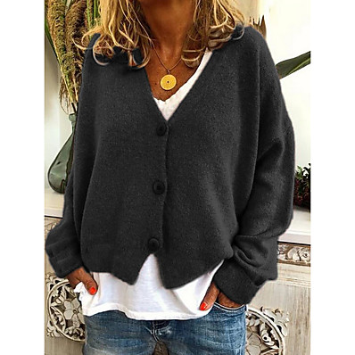 cheap Knit Tops-Women's Solid Colored Cardigan Long Sleeve Sweater Cardigans V Neck Black Orange Green
