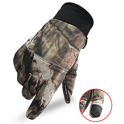 cheap Hunting & Nature-Men's Camo Hunting Gloves Thermal / Warm Touch Screen Wear Resistance Camo / Camouflage Spring Fall Winter Nylon Camping / Hiking Hunting Fishing Climbing
