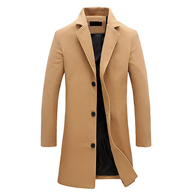 cheap Men's Outerwear-Men's Daily Vintage / Basic Fall / Winter Plus Size Long Jacket, Solid Colored Fantastic Beasts Notch Lapel Long Sleeve Cotton / Polyester Black / Blue / Gray