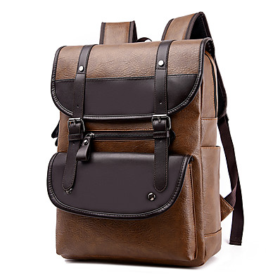 cheap Bags-Men's PU Leather School Bag Commuter Backpack Large Capacity Waterproof Zipper Tiered School Climbing Black Khaki Brown