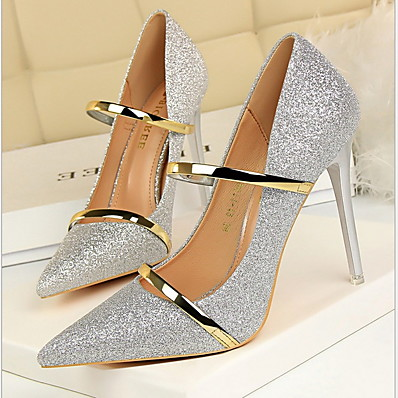 cheap SHOES & ACC-Women's Heels Glitter Crystal Sequined Jeweled Stiletto Heel Pointed Toe Rubber / PU Spring &  Fall Dark Brown / Champagne / Gold / Daily