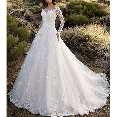 cheap Wedding Dresses-A-Line V Neck Sweep / Brush Train Lace Long Sleeve Formal Sparkle & Shine / Illusion Detail Made-To-Measure Wedding Dresses with Appliques 2020