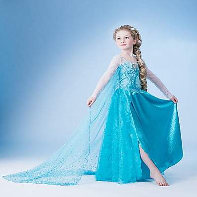 cheap Kids-Kids Little Girls' Dress Solid Colored Snowflake Flower Party Birthday Pegeant Light Blue Cosplay Princess Dresses Easter