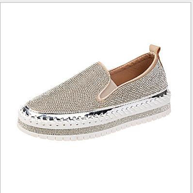 cheap Sneakers-Women's Flats Flat Heel Round Toe PU Fall & Winter Black / Silver