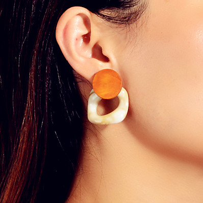 cheap Jewelry-Women's Earrings Geometrical Precious Taurus Artistic Rustic Tropical Sweet Modern Wood Earrings Jewelry Orange For Party Engagement Daily Stage Festival 1 Pair