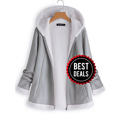 cheap OUTERWEAR-Women's Daily Winter Regular Jacket, Solid Colored Hooded Long Sleeve Polyester Gray / Wine / Khaki