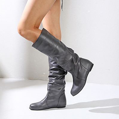 cheap Boots-Women's Boots Hidden Heel Round Toe Faux Leather Knee High Boots Fall & Winter Black / Brown / Almond / Party & Evening