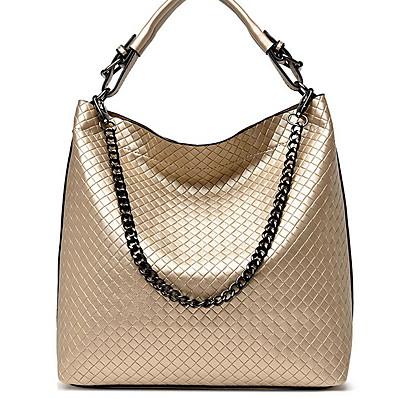 cheap Bags-Women's PU Top Handle Bag Solid Color Black / Gold / Blue