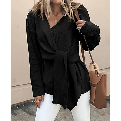 cheap Knit Tops-Women's Solid Colored Long Sleeve Pullover Sweater Jumper, V Neck Black / Khaki M / L / XL