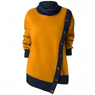 cheap Hoodies & Sweatshirts-Women's Casual Sweatshirt - Color Block Yellow L