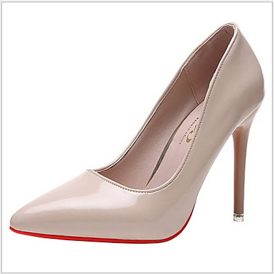 cheap Pumps & Heels-Women's Heels Stiletto Heel Pointed Toe Daily Rubber PU Almond Black Red
