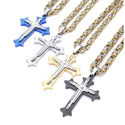 cheap Accessories-Men's Pendant Necklace Long Necklace Long Byzantine Cross Crucifix Fashion Vintage Cool Hip Hop Stainless Steel Titanium Steel Black Blue Gold Silver 60 cm Necklace Jewelry For Party Street Gift