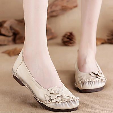 cheap SHOES & ACC-Women's Flats Flat Heel Round Toe PU Fall & Winter Black / White / Purple