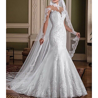 cheap Wedding Dresses-Mermaid / Trumpet High Neck Sweep / Brush Train Lace Long Sleeve Casual Backless Made-To-Measure Wedding Dresses with 2020