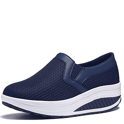 cheap Sneakers-Women's Sneakers Wedge Heel Round Toe PU Fall & Winter Black / Red / Dark Blue