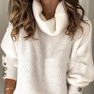cheap New in-Women's Solid Colored Pullover Long Sleeve Oversized Sweater Cardigans Rolled collar White Light Blue
