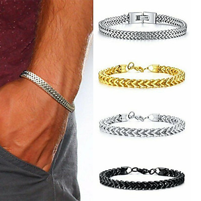 cheap Men's Jewelry-Men's Vintage Bracelet Bracelet Earrings / Bracelet Classic Lucky Classic Vintage Punk Trendy Fashion Titanium Steel Bracelet Jewelry Black / Gold / Silver For Gift Daily Holiday Club Festival