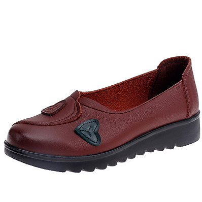 cheap Flats-Women's Loafers & Slip-Ons Flat Heel Round Toe PU Fall & Winter Black / Brown / Red / Daily