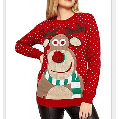 cheap Knit Tops-Women's Christmas Geometric Long Sleeve Pullover Sweater Jumper, Round Black / Red / Gray S / M / L