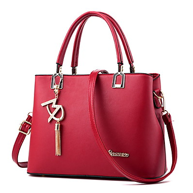 cheap ACCESSORIES-Women's Zipper PU Top Handle Bag Solid Color Black / Wine / Blushing Pink