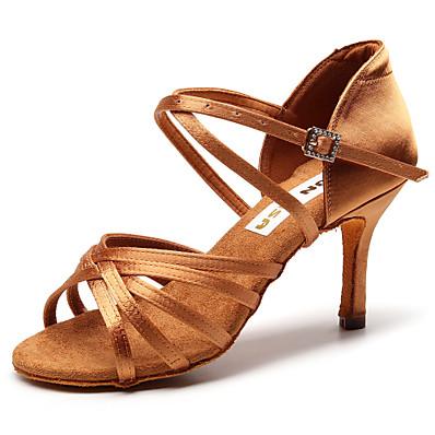 cheap Pumps & Heels-Women's Dance Shoes Silk Latin Shoes Heel Slim High Heel Customizable Black / Brown