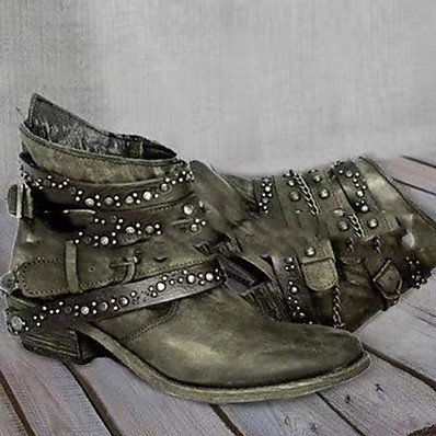 cheap SHOES & ACC-Women's Boots Cowboy / Western Boots Flat Heel Round Toe PU Booties / Ankle Boots Winter Black / Brown / Army Green