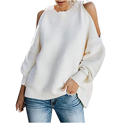 cheap New in-Women's Solid Colored Long Sleeve Pullover Sweater Jumper, Round Neck Black / White S / M / L