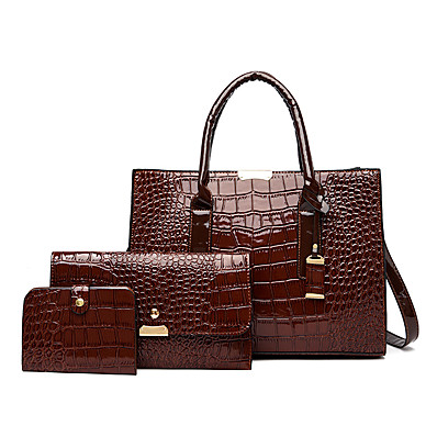 cheap Bags-Women's Bags PU Leather Shoulder Strap Bag Set 3 Pcs Purse Set Zipper Metallic Crocodile Handbags Daily Dark Brown Wine Black