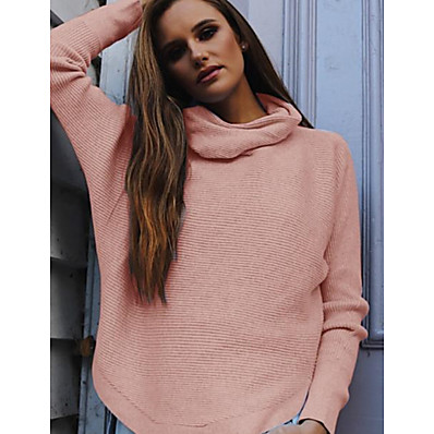 cheap New in-Women's Solid Colored Long Sleeve Pullover Sweater Jumper, Turtleneck Black / Blushing Pink / Gray S / M / L